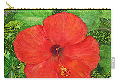 Carry-all Pouch featuring the painting Balinese Hibiscus Rosa by Melly Terpening