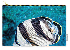 Carry-all Pouch featuring the photograph Banded Butterflyfish by Perla Copernik