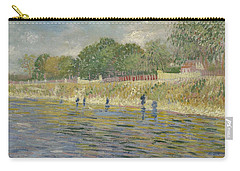 Carry-all Pouch featuring the painting Bank Of The Seine Paris, May - July 1887 Vincent Van Gogh 1853 - 1890 by Artistic Panda