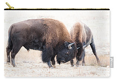 Battle Of The Bison In Rut Carry-all Pouch by Yeates Photography