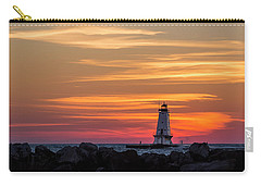 Carry-all Pouch featuring the photograph Beautiful Ludington Lighthouse Sunset by Adam Romanowicz