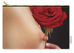 Beautiful Woman Breast And A Red Rose Carry-all Pouch