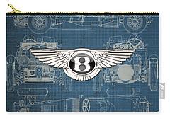 Bentley - 3 D Badge Over 1930 Bentley 4.5 Liter Blower Vintage Blueprint Carry-all Pouch