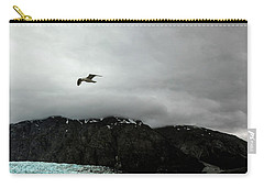Carry-all Pouch featuring the photograph Bird Over Glacier - Alaska by Madeline Ellis