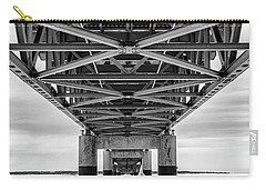 Carry-all Pouch featuring the photograph Black And White Mackinac Bridge Winter by John McGraw