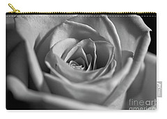 Black And White Rose Carry-all Pouch by Micah May