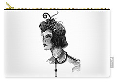 Carry-all Pouch featuring the mixed media Black And White Watercolor Fashion Illustration by Marian Voicu