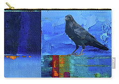 Carry-all Pouch featuring the digital art Blue Raven by Nancy Merkle