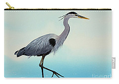 Carry-all Pouch featuring the painting Blue Water Heron by James Williamson