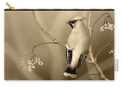 Carry-all Pouch featuring the digital art Bohemian Waxwing In Sepia by John Wills