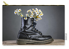 Boots With Daisy Flowers Carry-all Pouch