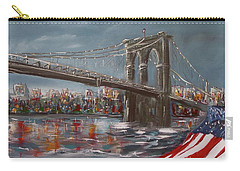 Carry-all Pouch featuring the painting Brooklyn Bridge by Miroslaw  Chelchowski