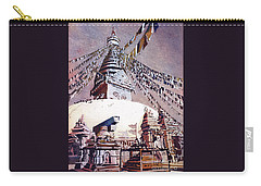Carry-all Pouch featuring the painting Buddhist Stupa- Nepal by Ryan Fox