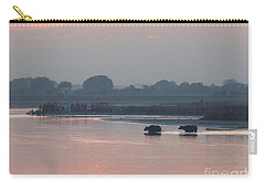 Carry-all Pouch featuring the photograph Buffalos Crossing The Yamuna River by Jean luc Comperat