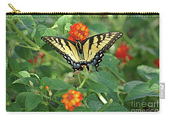 Carry-all Pouch featuring the photograph Butterfly And Flower by Debra Crank