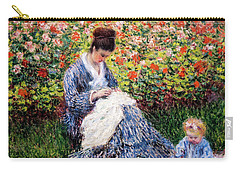 Camille Monet And A Child In The Artist's Garden In Argenteuil Carry-all Pouch