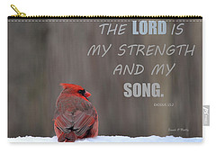 Cardinal In The Snowstorm With Scripture Carry-all Pouch