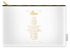 1 Corinthians 13 Love Is White Background Carry-all Pouch