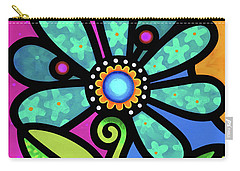 Cosmic Daisy In Aqua Carry-all Pouch