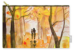 Couple On Autumn Alley, Painting Carry-all Pouch