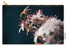 Carry-all Pouch featuring the photograph Crassula Ovata Flowers And Honey Bee  by Sharon Mau