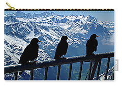 Carry-all Pouch featuring the photograph Crows On Top Of Mount Titlis - Switzerland by Joseph Hendrix