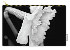 Carry-all Pouch featuring the photograph Daffodil Flower Black And White by Jennie Marie Schell