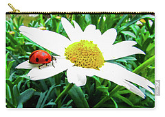 Daisy Flower And Ladybug Carry-all Pouch by Cesar Vieira