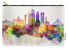 Dallas Skyline In Watercolor Background Carry-all Pouch by Pablo Romero