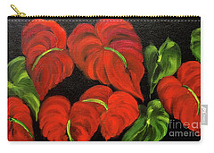 Dancing Anthuriums Carry-all Pouch by Jenny Lee