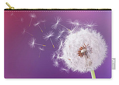Dandelion Flying On Magenta Background Carry-all Pouch