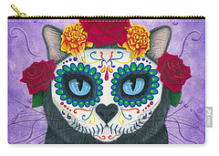 Carry-all Pouch featuring the painting Day Of The Dead Cat Gal - Sugar Skull Cat by Carrie Hawks