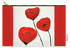 Carry-all Pouch featuring the painting Decorative Poppies Acrylic Painting C62017 by Mas Art Studio