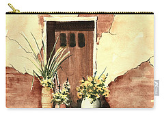 Carry-all Pouch featuring the painting Door With Pots by Sam Sidders