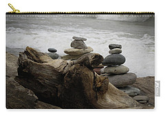 Carry-all Pouch featuring the photograph Driftwood Cairns by Kimberly Mackowski