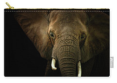 Elephant Against Black Background Carry-all Pouch