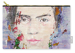 Carry-all Pouch featuring the painting Emily Dickinson - Oil Portrait by Fabrizio Cassetta