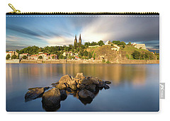 Famous Vysehrad Church During Sunny Day. Amazing Cloudy Sky In Motion. Vltava River, Prague, Czech Republic Carry-all Pouch