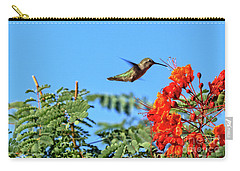 Carry-all Pouch featuring the photograph Feeding  Anna's Hummingbird by Robert Bales