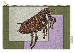 Flea On Abstract Beige Lavender And Dark Khaki Carry-all Pouch by Serge Averbukh