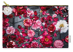 Carry-all Pouch featuring the photograph Floating Camelia Blossoms by Ann Jacobson
