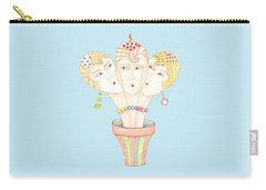 Carry-all Pouch featuring the painting Flower Pot Ladies by Nareeta Martin