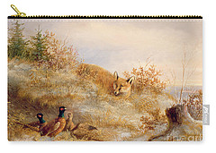 Fox And Pheasants In Winter Carry-all Pouch by Anonymous