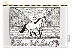 Carry-all Pouch featuring the drawing Free Spirit by Wendy Coulson