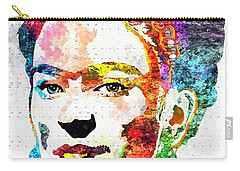 Frida Kahlo Grunge Carry-all Pouch by Daniel Janda