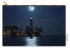 Full Moon Over Hillsboro Lighthouse In Pompano Beach Florida Carry-all Pouch by Justin Kelefas