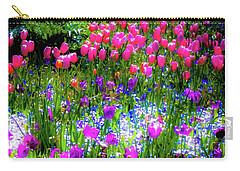 Carry-all Pouch featuring the photograph Garden Flowers With Tulips by D Davila