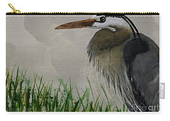 Carry-all Pouch featuring the painting Great Blue Heron by Donald Paczynski