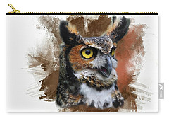 Great Horned Owl Two Carry-all Pouch by Suzanne Handel