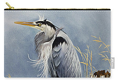 Carry-all Pouch featuring the painting Herons Windswept Shore by James Williamson
